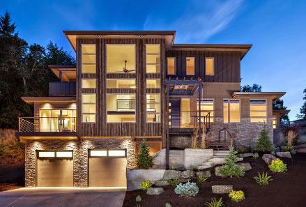 Desain Eksterior Rumah Mewah 1 Lantai  desain rumah modern minimalis 2 lantai gaya pegunungan